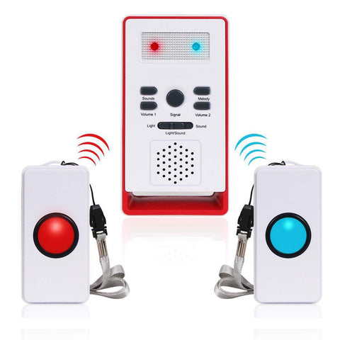Wireless Caregiver Pagers(2 call 1) | Smart Caregiver Two Call Buttons | Wireless Buzzer System for Elderly - ringdido