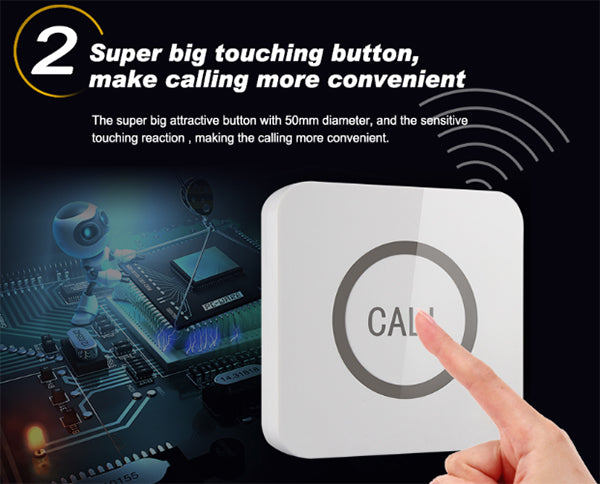 Water Proof Hotel Pager /  Touchable Call Button - ringdido