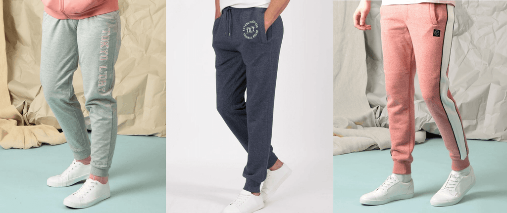 Examples of jogging bottoms available at Tokyo Laundry