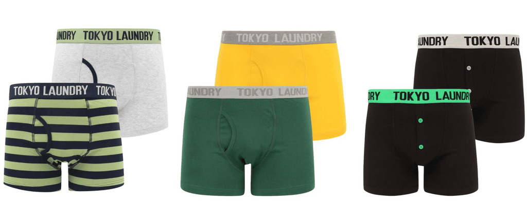 Examples of men's boxers available to buy at Tokyo Laundry