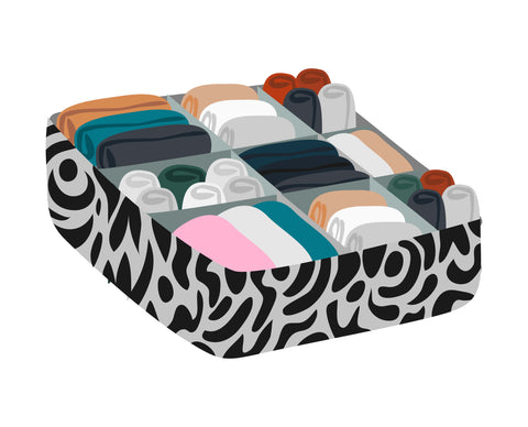 Example of drawer dividers that can be used to organise an underwear drawer