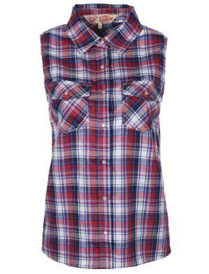 Abigail Checkered Sleeveless Shirt in Red - Tokyo Laundry