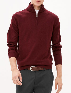 Redwood Half Zip Neck Cashmilon Knit Jumper in Zinfandel - Kensington Eastside