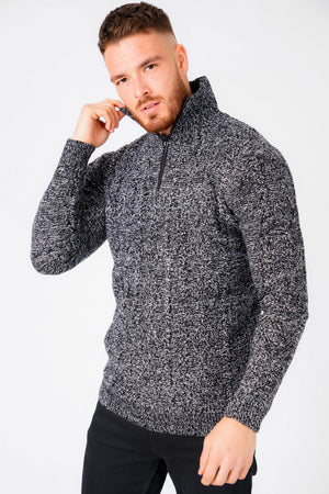 Eskra Half Zip Cable Knit Jumper in Black & Optic White – Tokyo Laundry