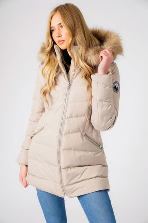 Jaboris Fur Funnel Neck Longline Quilted Puffer Coat in Fog Stone - Tokyo Laundry