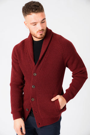 Hatton Wool Blend Shawl Neck Cardigan In Oxblood – Tokyo Laundry