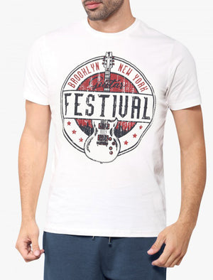 Guitar Festival Motif Cotton T-Shirt In Ivory – South Shore