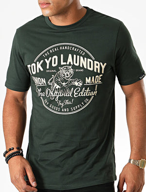 Original Edition Motif Cotton Jersey T-Shirt In Scarab Green – Tokyo Laundry