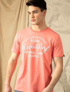 Travis Applique Motif Cotton Jersey T-Shirt in Peach Blossom - Tokyo Laundry