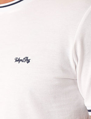 Resin Cotton Pique T-Shirt With Jacquard Cuffs In Bright White - Tokyo Laundry