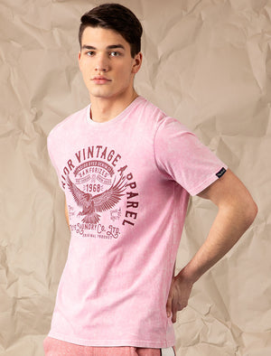 Springfield Motif Acid Wash Cotton Jersey T-Shirt In Pink – Tokyo Laundry
