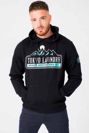 Brabyns Outdoor Motif Brush Back Fleece Pullover Hoodie In Jet Black – Tokyo Laundry