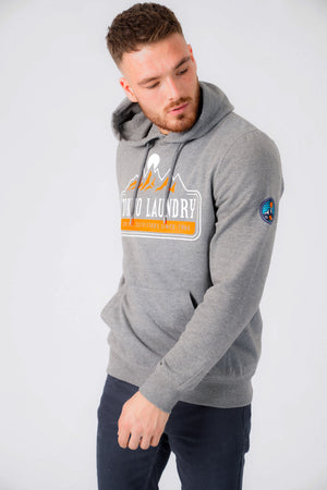 Brabyns Outdoor Motif Brush Back Fleece Pullover Hoodie In Mid Grey Marl – Tokyo Laundry