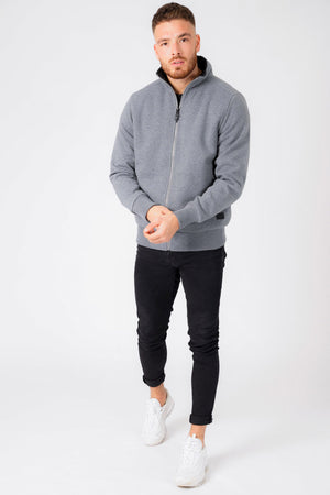 Percy Funnel Neck Zip Through Sweat With Borg Lining In Mid Grey Marl – Dissident