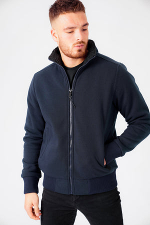 Percy Funnel Neck Zip Through Sweat With Borg Lining In Iris Navy – Dissident