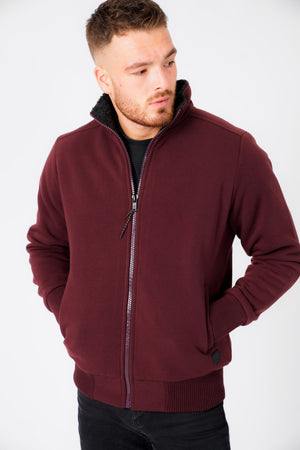 Percy Funnel Neck Zip Through Sweat With Borg Lining In Sassafras Wine – Dissident