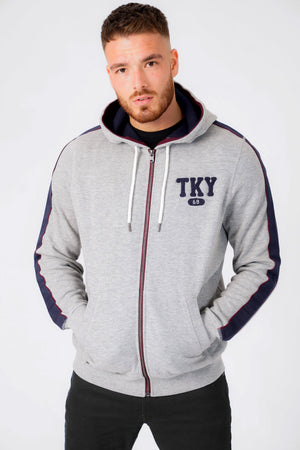 Hennessey Zip Through Hoodie With Tape Sleeve Detail In Light Grey Marl – Tokyo Laundry