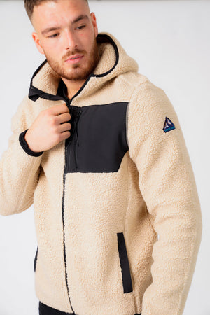 Brewer Teddy Borg Fleece Zip Through Hoody In Natural Taupe – Tokyo Laundry
