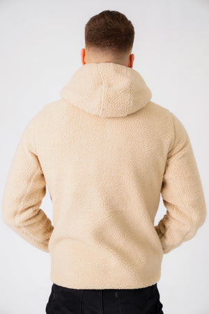 Brewer Teddy Borg Fleece Zip Through Hoody In Natural Taupe - Tokyo Laundry