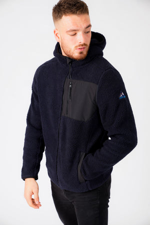Brewer Teddy Borg Fleece Zip Through Hoody In Navy – Tokyo Laundry