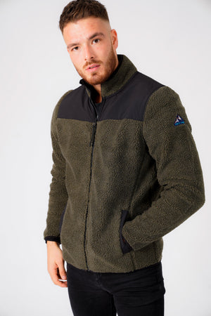Southwell Teddy Borg Fleece Funnel Neck Hoody in Dusty Olive – Tokyo Laundry