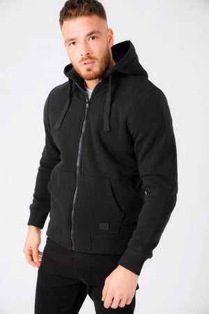 Bolo 2 Zip Through Hoodie With Borg Lining In Black – Dissident
