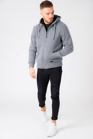 Bolo 2 Zip Through Hoodie With Borg Lining In Mid Grey Marl – Dissident