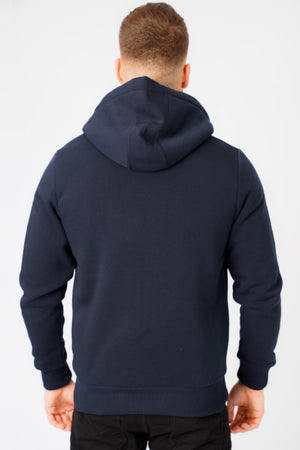 Bolo 2 Zip Through Hoodie With Borg Lining In Midnight Blue – Dissident