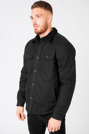 Terroso Borg Lined Cotton Overshirt Jacket with Collar in Jet Black – Tokyo Laundry