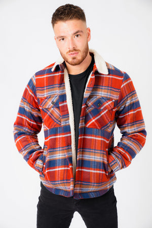 Retford Borg Lined Checked Brush Flannel Overshirt Jacket in Red Ochre – Tokyo Laundry