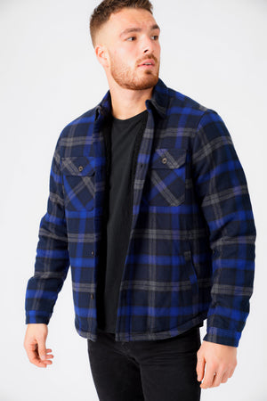 Herrick Borg Lined Checked Brush Flannel Overshirt Jacket in Blue Depths – Tokyo Laundry