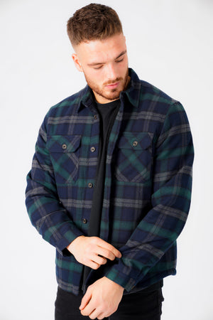 Herrick Borg Lined Checked Brush Flannel Overshirt Jacket in Green – Tokyo Laundry