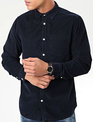 Erskine Corduroy Cotton Long Sleeve Shirt In Navy – Tokyo Laundry