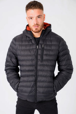 Vizzini Quilted Puffer Jacket with Hood in Jet Black - Tokyo Laundry