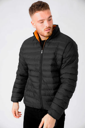 Inigo Funnel Neck Quilted Puffer Jacket in Jet Black – Tokyo Laundry