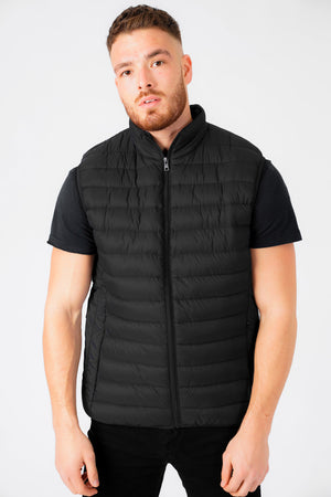 Yellin Quilted Puffer Gilet with Fleece Lined Collar in Jet Black – Tokyo Laundry