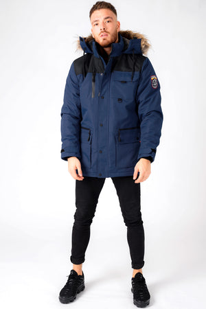 Haakon Colour Block Utility Parka Coat with Faux Fur Lined Hood in Iris Navy - Tokyo Laundry