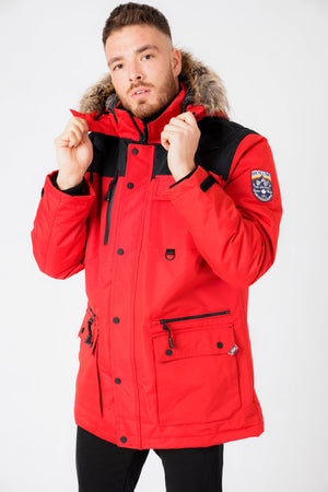 Haakon Colour Block Utility Parka Coat with Faux Fur Lined Hood in Barbados Cherry – Tokyo Laundry