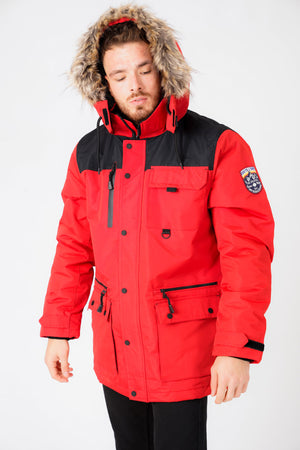 Haakon Colour Block Utility Parka Coat with Faux Fur Lined Hood in Barbados Cherry - Tokyo Laundry