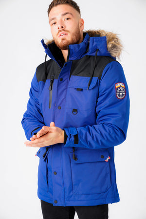 Haakon Colour Block Utility Parka Coat with Faux Fur Lined Hood in Sodalite Blue – Tokyo Laundry