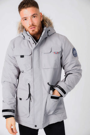 Hjalmar Utility Parka Coat with Fleece Lined Faux Fur Trim Hood in Light Griffin Grey - Tokyo Laundry