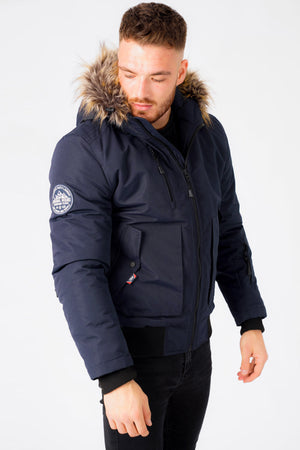 Kennett Taslon Short Parka Coat With Borg Lined Hood In Navy – Tokyo Laundry