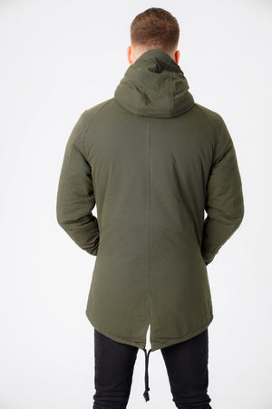 Welker Borg Lined Hooded Parka Coat with Fishtail Hem in Rosin Green – Tokyo Laundry
