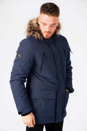 Nolte Utility Parka Coat with Borg Lined Faux Fur Trim Hood in Navy – Tokyo Laundry