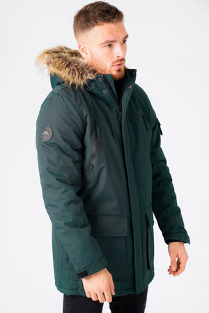 Nolte Utility Parka Coat with Borg Lined Faux Fur Trim Hood in Scarab Green – Tokyo Laundry