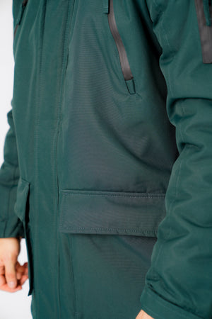 Nolte Utility Parka Coat with Borg Lined Faux Fur Trim Hood in Scarab Green - Tokyo Laundry