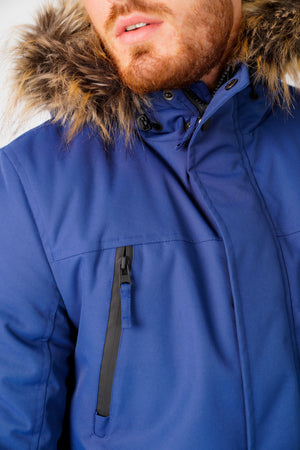 Nolte Utility Parka Coat with Borg Lined Faux Fur Trim Hood in Medieval Blue – Tokyo Laundry