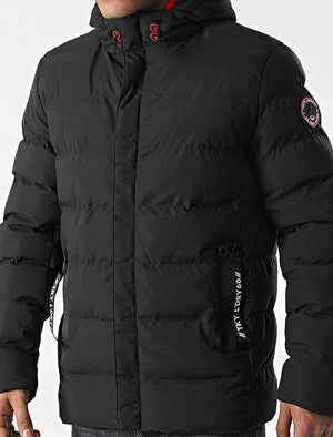 Chappin Quilted Puffer Coat with Hood In Jet Black - Tokyo Laundry