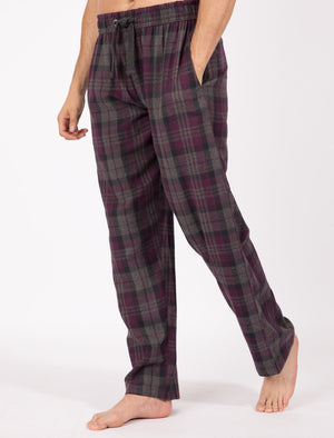Chamois Brushed Flannel Checked Lounge Pants in Eggplant - Tokyo Laundry