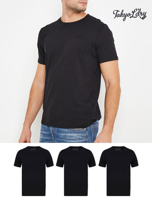 Highwoods (3 Pack) Crew Neck Combed Cotton T-Shirts In Jet Black - Tokyo Laundry